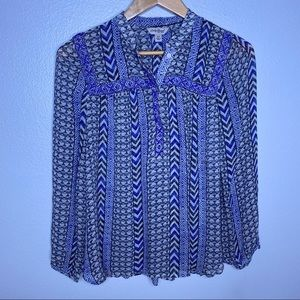 Lucky Brand Blue Beaded Peasant Top Sz XS